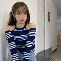 【Final Sale】HyunA Style Striped Off-Shoulder Knit Top
