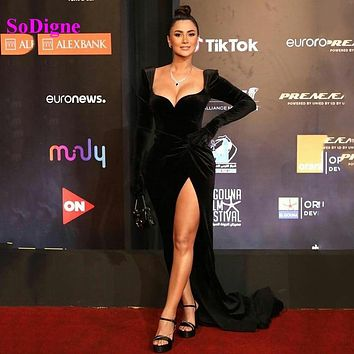 SoDigne Velvet Long Sleeve Evening Dress Sexy High Side Split Mermaid Prom Gown Custom Made Celebrity Dress 2021