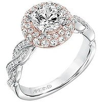 """Artcarved """"Anja"""" Two Tone Twisted Halo Diamond Engagement Ring"""