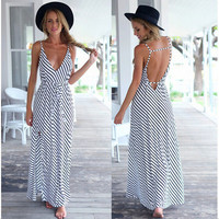 Women's Trending Popular Fashion 2016 Sexy Package Hip Strappy V Neck Erotic Casual Party Playsuit Clubwear Bodycon Boho Dress _ 8815