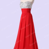 Sexy Beaded Long Formal Wedding Prom Party Bridesmaid Evening Ball Gown Dress