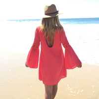 Endless Road Shift Dress In Coral