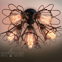 industrial chandelier light  wall sconce cage 6 light pendant ceiling lights articulate arm edison lighting 2014 new ceiling fan lamp CASOL