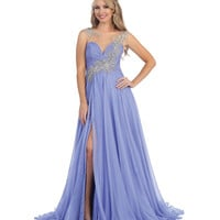 Lavender Blue Beaded Illusion Sweetheart Slit Gown 2015 Prom Dresses