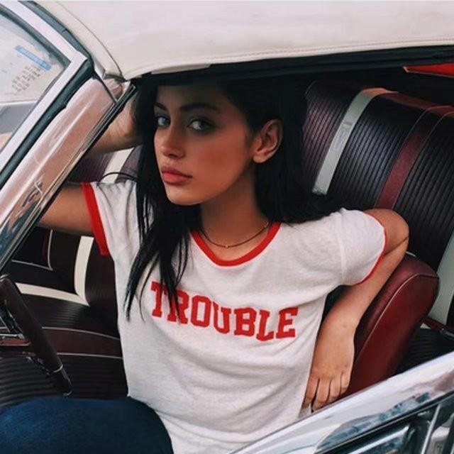 Image of Fashion Casual Multicolor Letter Print Round Neck Short Sleeve Women's T-shirt Tops
