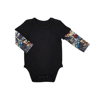 Tattoo Snapshirt Baby Bodysuit in Black | Unisex Size 6-12 Months | Funny Full Sleeve Tattoo Infant Shirt