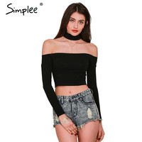 Simplee Apparel European style sexy slash neck black t-shirt women tops Autumn long sleeve halter top Girl t shirt 90's crop top