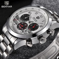 BENYAR Men Watches 2018 Luxury Brand Sports Watches Mens Quartz Watch Men Steel Business Chronograph Wrist Watch Clock Man New