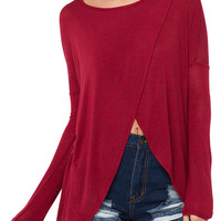 Burgundy Long Sleeve Knitted Blouse