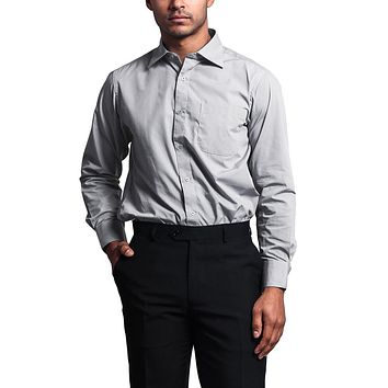 Regular Fit Long Sleeve Dress Shirt - Silver