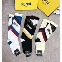 FENDI Striped ribbed cotton-blend socks