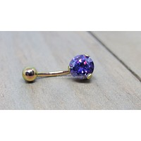 Titanium belly ring 14g purple Swarovski gemstone prong set internally threaded pick your anodized color 7/16""