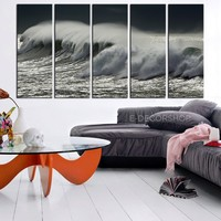 LARGE CANVAS ART - Black and White Ocean Waves Canvas Print - Wave in Sea Art 5 Panel + Large Wall Art Size