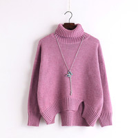 High Neck Solid Knit Pullover Short Split Sweater