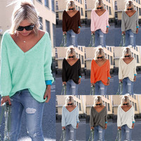 Women's  Round Neck Knit Loose Top Sweater