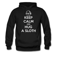 KEEP-CALM-AND-HUG-A-SLOTH-ON_3_hoodie sweatshirt tshirt