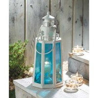 Blue And White Lighthouse Candle Lantern