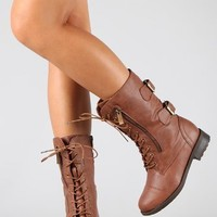 Top Moda Women's Pack-72 Lace Up Combat Boot,Pack-72 Tan 9