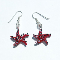 Cute Red Starfish with Sterling Silver Dangle Earrings