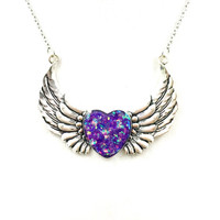 Purple holographic heart and wing necklace / heart jewelry / angel wing necklace / holographic jewelry / purple pendant / silver necklace
