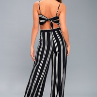 Coastal Living Navy Blue and White Striped Two-Piece Jumpsuit