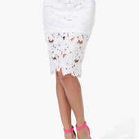 White Flower Lace Pencil Skirt