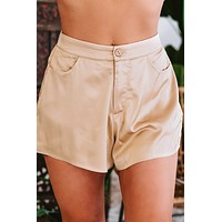 Chasing The Night High Waisted Silk Shorts (Light Mocha)