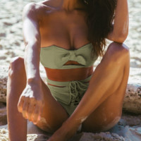 Summer New Fashion Solid Color Strapless Two Piece Bikini Swimsuit Light Green