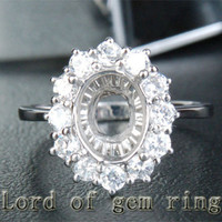 7x9mm Oval Cut 1.08ct Diamonds Engagement Semi Mount Ring Setting in 14K White Gold