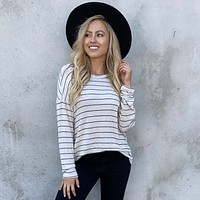 Elsa Fleece Stripe Back Sweater Top In Cream