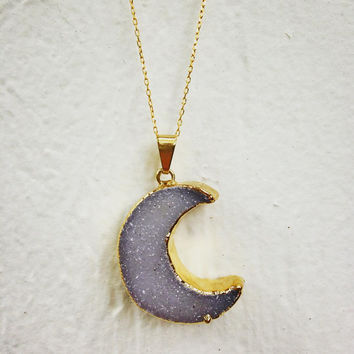 14k Gold Painted Crystal Moon Necklace