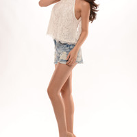 Lace A-Line Open Back Top - White