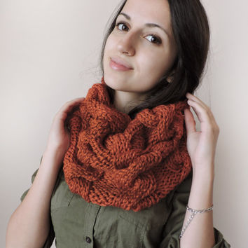 FREE SHIPPING Chunky knit cowl Neck warmer Cable knit cowl Hood Orange Infinity cowl Hand knit neck warmer Hooded scarf Tube cowl snood