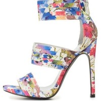 Qupid Floral Print Banded Heels by Charlotte Russe