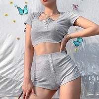 Solid Gray Short Crop Top Shorts 2 Piece Sets Womens Outfits Button Casual Outfit Summer New Good Elastic Slim Female