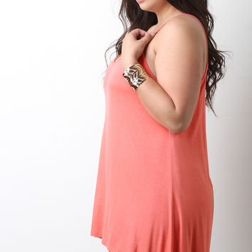 Solid Scoop Neck V-Strap Tunic Top