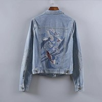 2017 New Arrival Fashion Women Denim Jacket Vintage Dragon Embroidery Jeans Jacket Women Spring Slim Basic Jackets jaqueta jeans