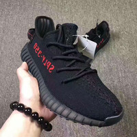 Adidas Yeezy 550 Boost 350 V2 Fashion Women Men Casual Sport Running Shoe Sneakers Black-red