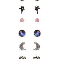 LOVEsick Moon Dragon Heart Rose Earrings 6 Pair