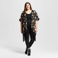 Women's Plus Size Stanfield Printed Open Cardigan with Fringe - JAIME (Juniors')