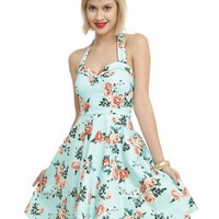 Mint Floral Halter Dress