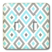 3dRose lsp_203397_2 Gray And Blue Ikat Diamond Pattern - Double Toggle Switch