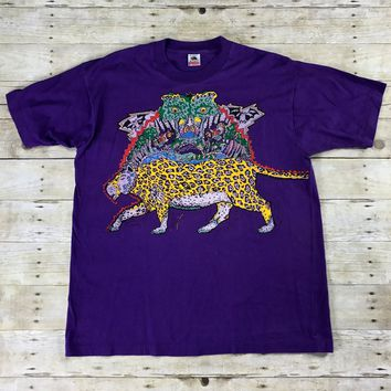 Vintage 90s Spirit Animal Graphic Purple T-Shirt Mens Size XL