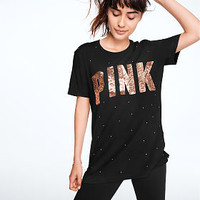 Rhinestone Bling Campus Short Sleeve Tee - PINK - Victoria's Secret