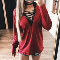 Bridget Lace Long Sleeve Top (Red)