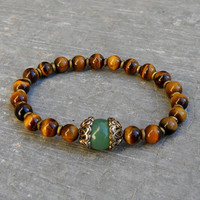 prosperity and balance -Tiger's eye and Adventurine and African Trade bead mala bracelet