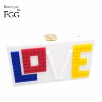 LOVE Letters White Acrylic Women Evening Clutch Bag Chain Shoulder Handbags Crossbody Hardcase Clutches Wedding Party Prom Purse