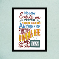 Rick and Morty Smith Handlettered Typography Quote | Nobody Exists on Purpose | Gifts for Geeks | Inspiring Art Print | Handlettering Quote