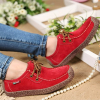 2015 spring women genuine leather shoes woman Hand-sewn suede leather flats cowhide flexible boat shoes women loafer plus size = 1931688260