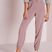 Missguided - Belt Woven Joggers Rose Pink